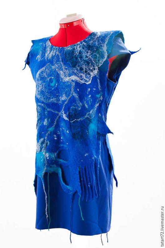 Платья ручной работы. Ярмарка Мастеров - ручная работа. Купить туника для дамы. Handmade. Синий, абстрактный, туника летняя
