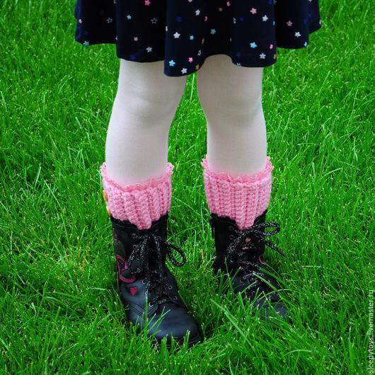 Носки, Чулки ручной работы. Ярмарка Мастеров - ручная работа. Купить Вязаные гетры, розовый, лиловый. Handmade. Однотонный, розовый