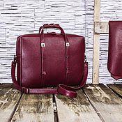 Классическая сумка ручной работы. Ярмарка Мастеров - ручная работа Сумка для ноутбука кожаная Smart Z004 (бордо). Handmade.
