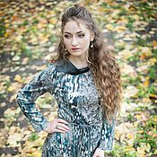 Одежда handmade. Livemaster - original item The novelty of autumn - Jersey Dress with leather collar. Handmade.