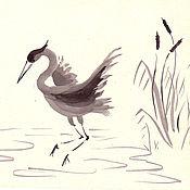 Картины и панно handmade. Livemaster - original item Heron, Sakura, bamboo, Sumi-e, ink. Handmade.