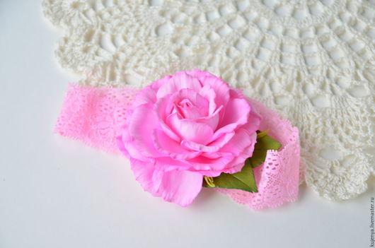 """Детская бижутерия ручной работы. Ярмарка Мастеров - ручная работа. Купить Повязка для малышки """"Розочка"""". Handmade. Розовый, розочка для девочки"""