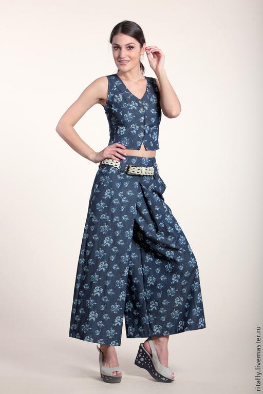 летние брюки юбка брюки широкие женские летние брюки юбка брюки на лето юбка-брюки летние женские брюки на заказ авторская одежда красивая одежда стильные летние брюки юбка с карманами джинсовые юбка - брюки брюки на лето хлопок
