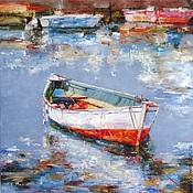 Картины и панно handmade. Livemaster - original item Oil painting Boat at the pier. Handmade.