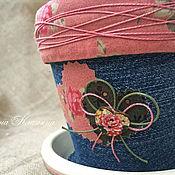 """Цветы и флористика ручной работы. Ярмарка Мастеров - ручная работа Цветочный горшок """"В стиле пэчворк"""". Handmade."""