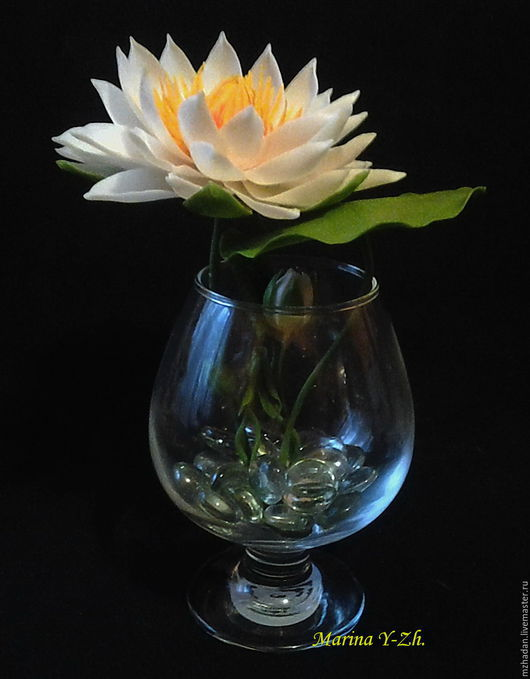 Лилия водяная, Кувшинка из полимерной глины,Лотос ручной работы,Цветы из полимерной глины.