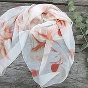 Аксессуары ручной работы. Ярмарка Мастеров - ручная работа Шелковый шарф Нежный, эко принт. Handmade.