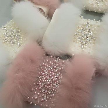 Свадебный салон ручной работы. Ярмарка Мастеров - ручная работа Меховая муфта розовая белая Нарядная муфта для свадьбы. Handmade.