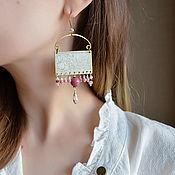 Украшения manualidades. Livemaster - hecho a mano Grandes pendientes Boho con perlas y Rodonita pendientes Rectangulares flores. Handmade.