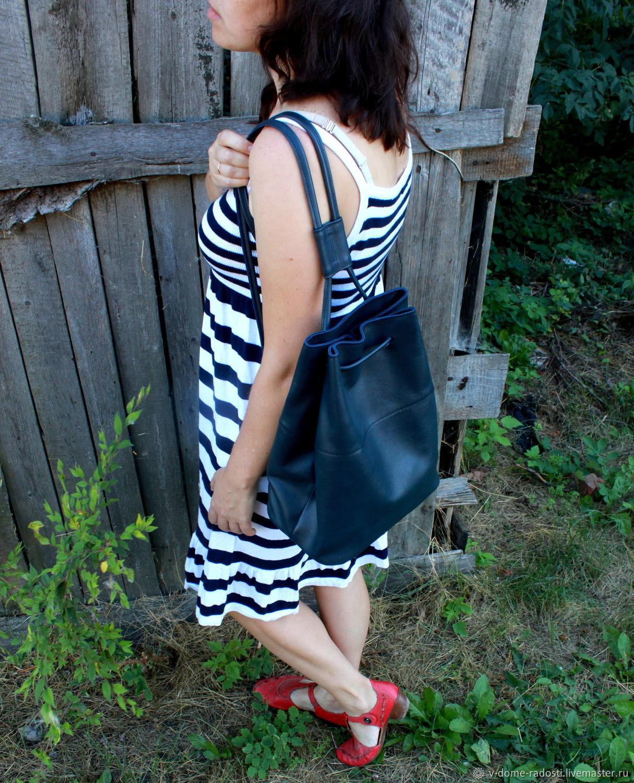 Темно синий кожаный рюкзак, купить женский рюкзак, городской рюкзак, рюкзак на лето, стильный рюкзак, рюкзак из натуральной кожи. Мастер Сечкина Юлия https://www.livemaster.ru/v-dome-radosti