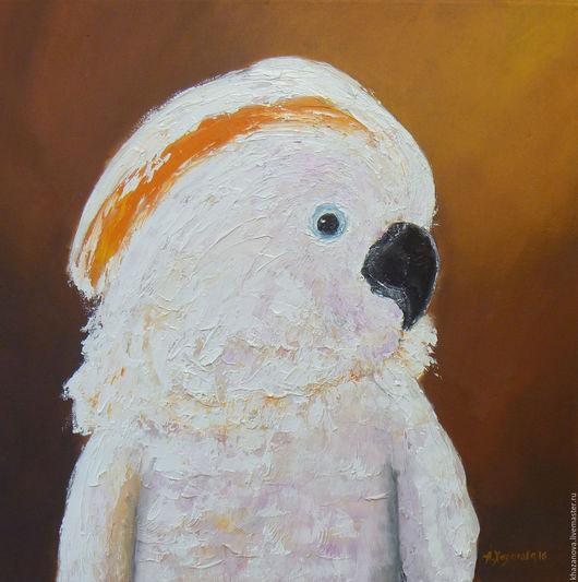 """Животные ручной работы. Ярмарка Мастеров - ручная работа. Купить """"Молуккский какаду"""" (холст/масло). Handmade. Оранжевый, попугай, пастозная живопись"""
