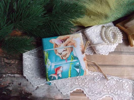 """Блокноты ручной работы. Ярмарка Мастеров - ручная работа. Купить Блокнот""""КотЭ и золотая рыбка"""". Handmade. Комбинированный, блокнот для девушки, Скрапбукинг"""