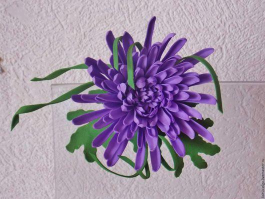 """Броши ручной работы. Ярмарка Мастеров - ручная работа. Купить """"Хризантема"""". Handmade. Тёмно-фиолетовый, брошь ручной работы"""