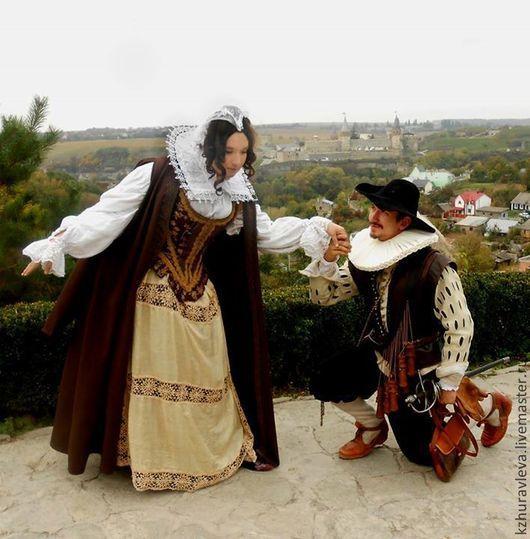 Карнавальные костюмы ручной работы. Ярмарка Мастеров - ручная работа. Купить женский костюм 17  век реконструкция. Handmade. Коричневый