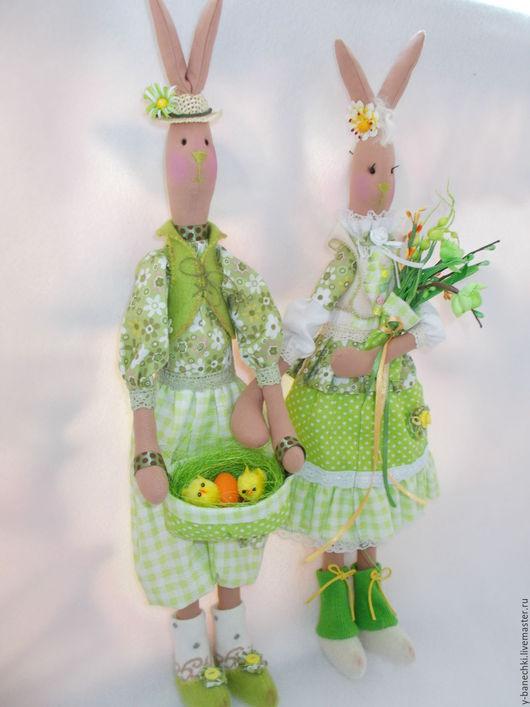 Куклы Тильды ручной работы. Ярмарка Мастеров - ручная работа. Купить Пасхальные Кролики. Handmade. Ярко-зелёный, цыплята, кружево