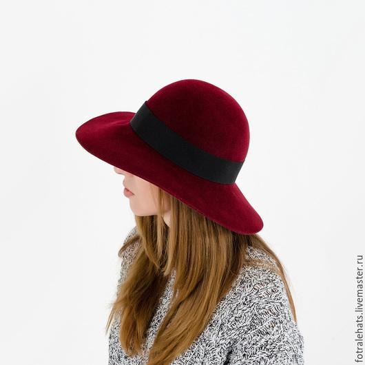 Шляпы ручной работы. Ярмарка Мастеров - ручная работа. Купить Шляпа флоппи с широкими полями винного цвета фетровая. Handmade.