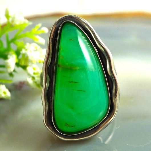 """Кольца ручной работы. Ярмарка Мастеров - ручная работа. Купить Кольцо  """"Зеленое яблоко"""" - хризопал, серебро. Handmade. хризопал"""