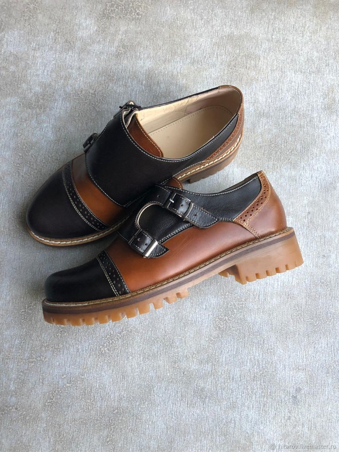 Monki black / brown toned leather beige sole, Brogues, Moscow,  Фото №1