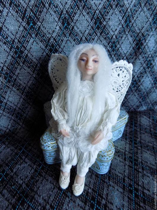 """Коллекционные куклы ручной работы. Ярмарка Мастеров - ручная работа. Купить Кукла """"Маленький ангел"""". Handmade. Белый, крылья, проволока"""