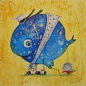 Картины и панно ручной работы. Ярмарка Мастеров - ручная работа Китёнок ( батик панно). Handmade.
