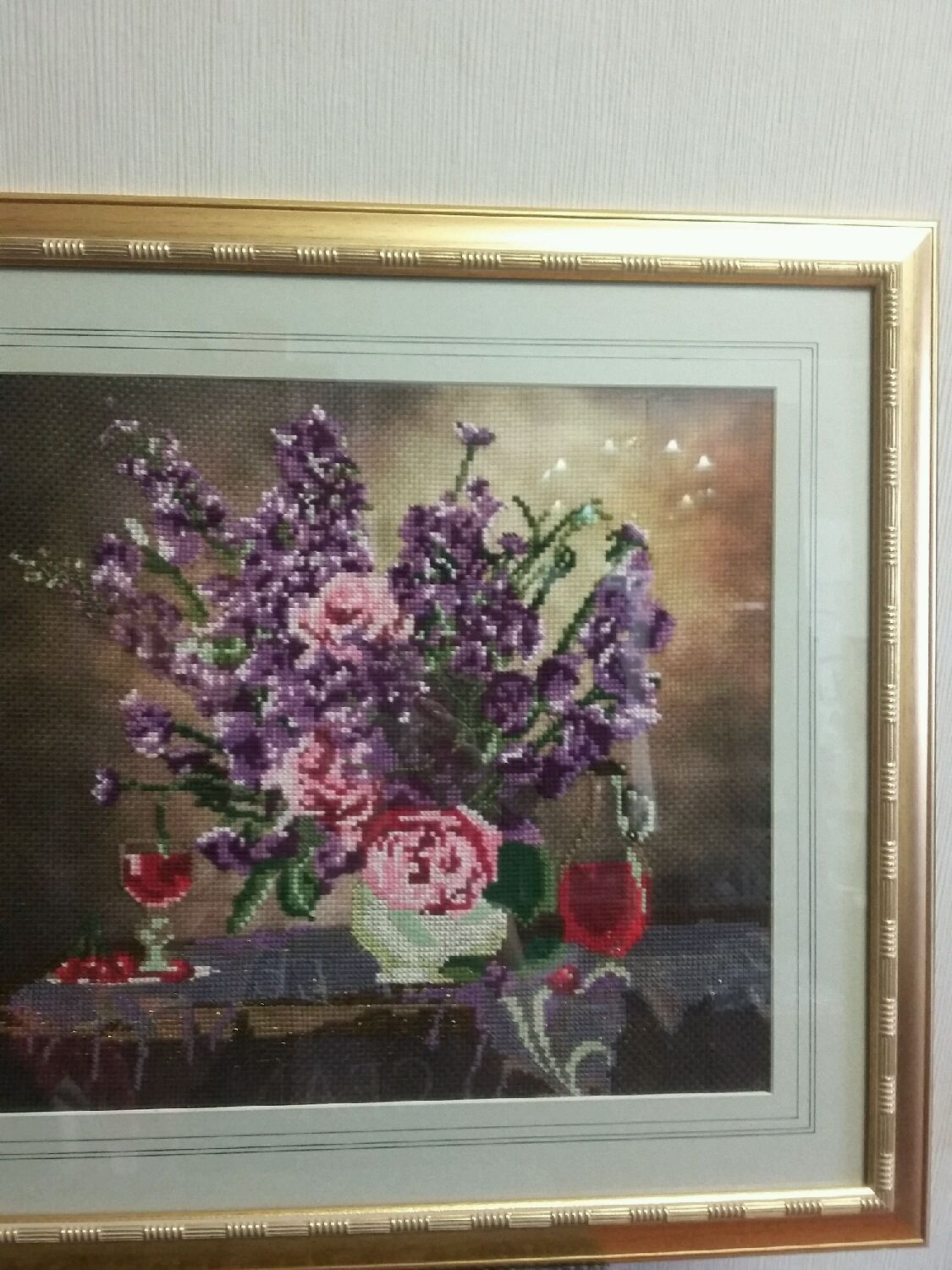 Flower Paintings handmade. Livemaster - handmade. Buy Painting embroidered cross .Bouquet in a vase on the table,covered with a shawl.
