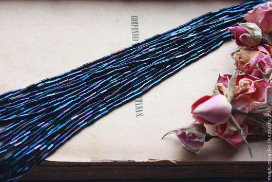 Для украшений ручной работы. Ярмарка Мастеров - ручная работа. Купить Антикварный стеклярус - blue Iris. Handmade. Тёмно-синий