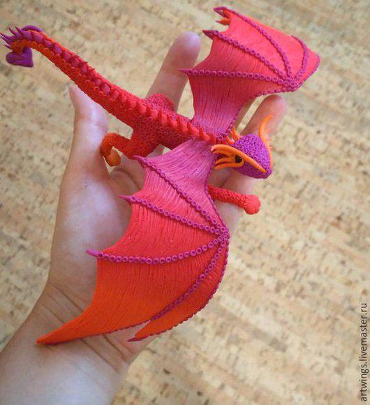 Миниатюрные модели ручной работы. Ярмарка Мастеров - ручная работа. Купить Дракон закатного неба. Handmade. Комбинированный, крылья творчества