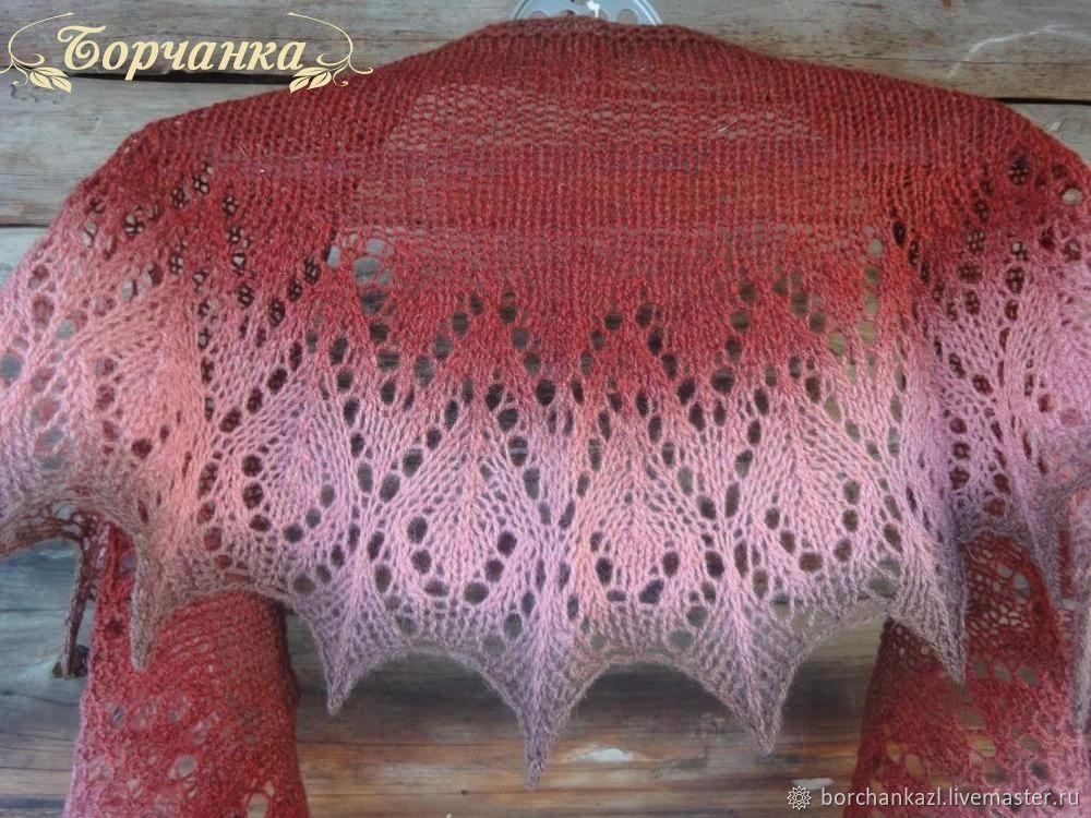 Mini shawl Rose and Chocolate shawl openwork knitting set, Shawls, Borskoye,  Фото №1