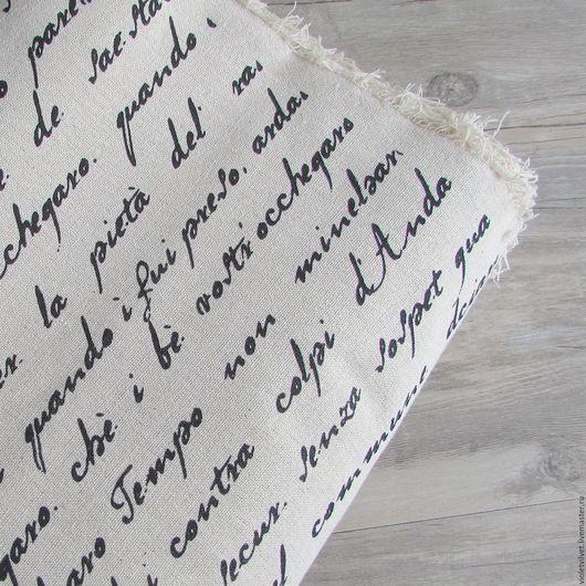 Ткань лен натуральный с рисунком Текст.