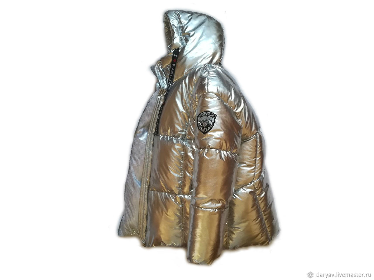 Silver down jacket with a hood, Down jackets, St. Petersburg,  Фото №1