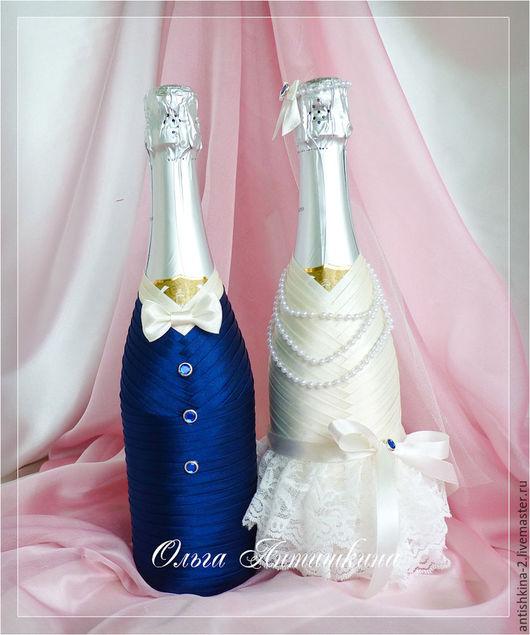"""Свадебные аксессуары ручной работы. Ярмарка Мастеров - ручная работа. Купить Оформление свадебных бутылок """"Парочка"""" (любые цветовые сочетания). Handmade."""