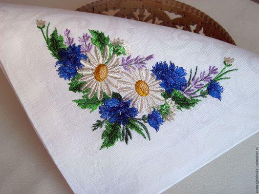 Вышитые салфетки, Салфетки с вышивкой, Декоративные салфетки, Полевые цветы, Вышитая салфетка, Практичный подарок, Подарок на новоселье, Вышитый текстиль