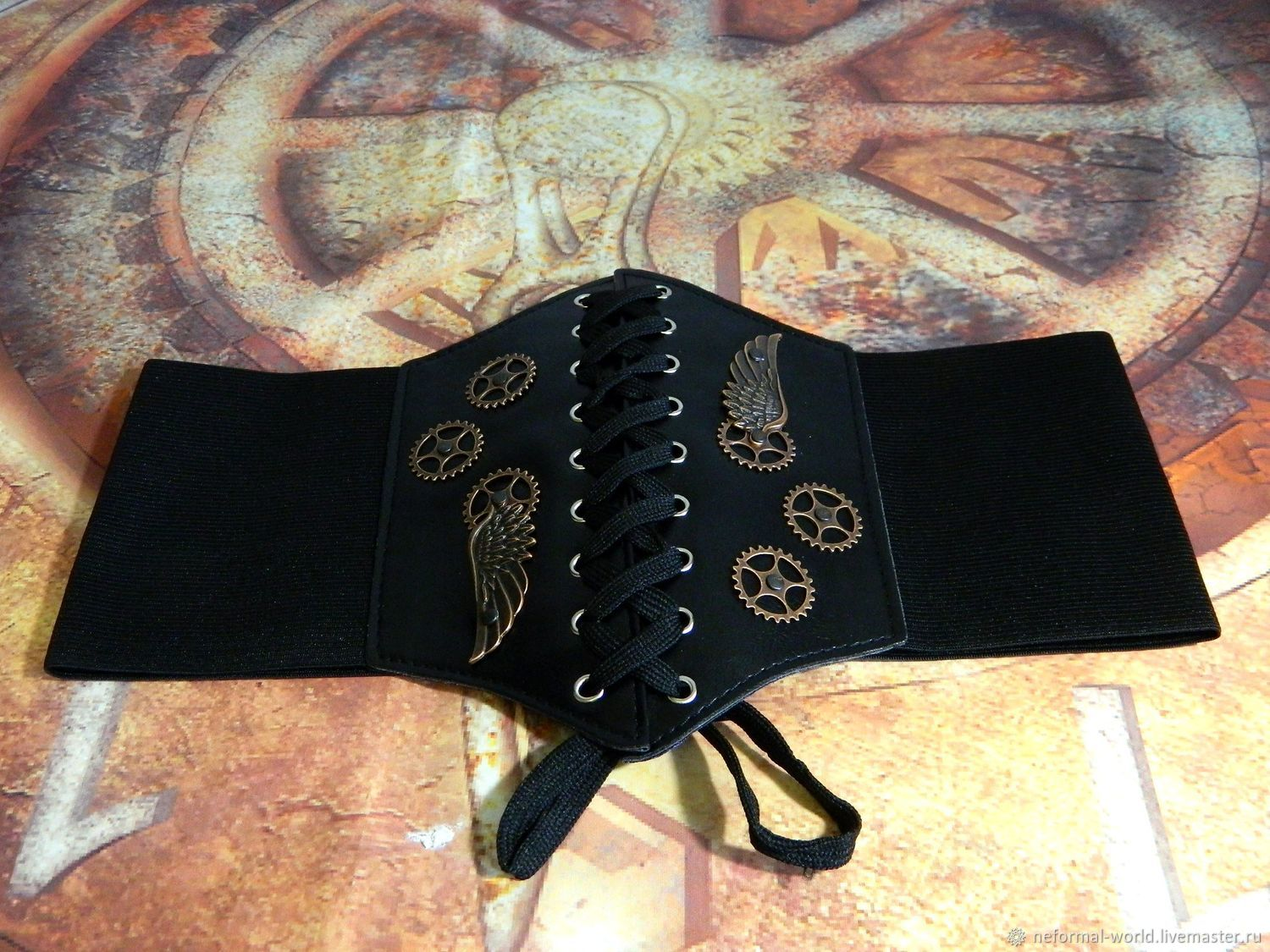 Mini corset made of eco-leather elastic band steampunk ' STIMPANK WING', Straps, Saratov,  Фото №1