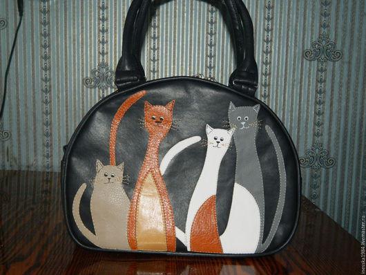 """Женские сумки ручной работы. Ярмарка Мастеров - ручная работа. Купить Сумка """"4 кота"""" в темном. Handmade. Тёмно-синий"""