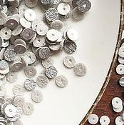 Материалы для творчества ручной работы. Ярмарка Мастеров - ручная работа Пайетки, 5 мм, плоские пайетки, круглые пайетки, серебро. Handmade.