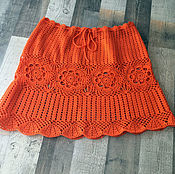 Одежда handmade. Livemaster - original item Summer orange skirt, crocheted. Handmade.