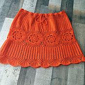 Одежда ручной работы. Ярмарка Мастеров - ручная работа Летняя оранжевая юбочка, связанная крючком. Handmade.