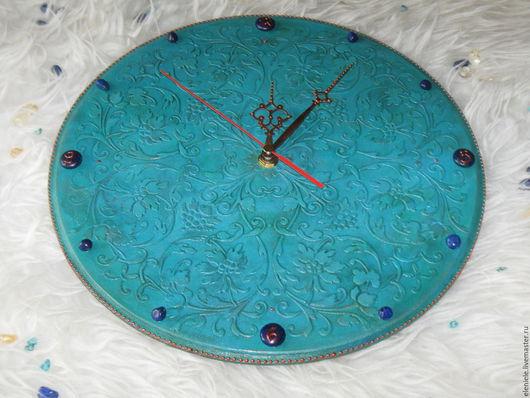 Часы для дома ручной работы. Ярмарка Мастеров - ручная работа. Купить Часы Бирюзовое настроение с лазуритом. Handmade. Бирюзовый