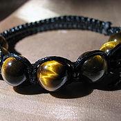 Украшения handmade. Livemaster - original item Shamballa bracelet with tiger`s-eye