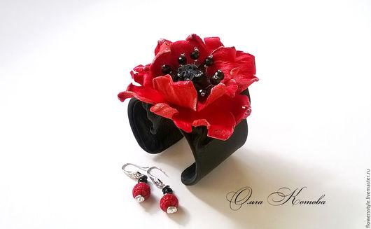 Комплекты украшений ручной работы. Ярмарка Мастеров - ручная работа. Купить Комплект украшений Танго в красном и черном Красный мак. Handmade.