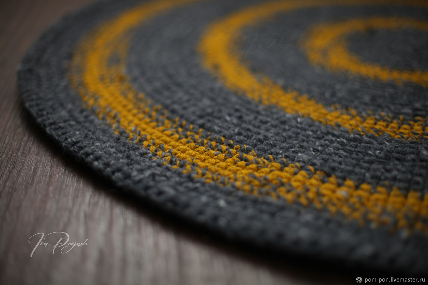Carpet round wool blend knit gray mustard, Carpets, Volgograd,  Фото №1