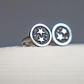 Украшения ручной работы. Ярмарка Мастеров - ручная работа серьги гвоздики из серебра с двумя звёздами Кусочек Неба. Handmade.