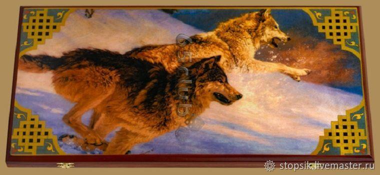 Нарды, шашки Волк №4 (большие) (арт. 50560), Нарды и шашки, Москва,  Фото №1