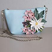 Сумки и аксессуары handmade. Livemaster - original item Leather bag .Bag with applique.Mini Spring bouquet blue. Handmade.