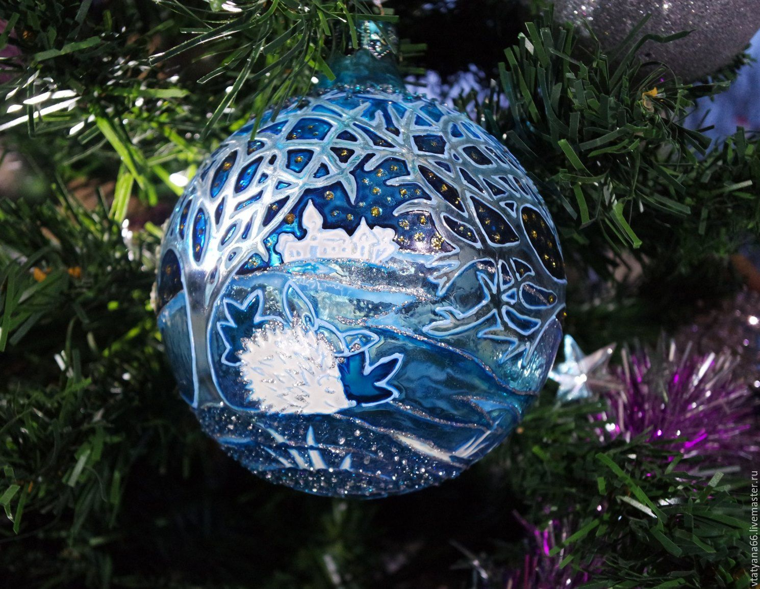 Handmade glass christmas ornaments - New Year 2017 Handmade Glass Christmas Ball With Stained Glass Painted Blue Forest Paint
