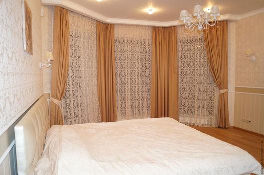 Текстиль, ковры ручной работы. Ярмарка Мастеров - ручная работа. Купить Комплект штор для спальни №28. Handmade. Бежевый, спальня
