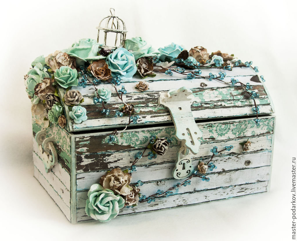 Bridal trunk 'turquoise snow', Chests, St. Petersburg,  Фото №1