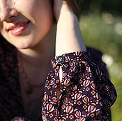"""Платья ручной работы. Ярмарка Мастеров - ручная работа Платье из штапеля """"Ноготки на чернильном"""". Handmade."""