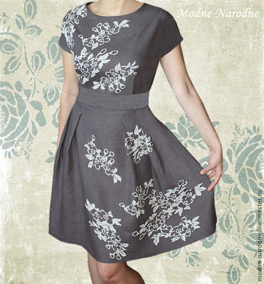 Льняное платье с ручной вышивкой Яблоня в Цвету.\r\nМодная одежда с ручной вышивкой. \r\nТворческое ателье Modne-Narodne.