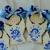 """Подарки к праздникам ручной работы. Ярмарка Мастеров - ручная работа Ангелы рождество""""Гжель""""роспись,новый год,елочная игрушка,синий,голубой. Handmade."""